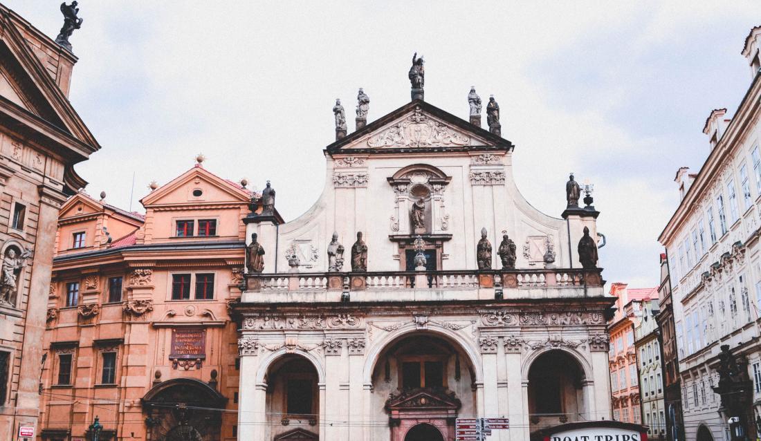 Old European church in a city.