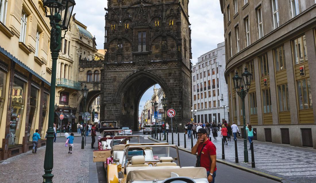 Prague Praha 5 cobblestone street