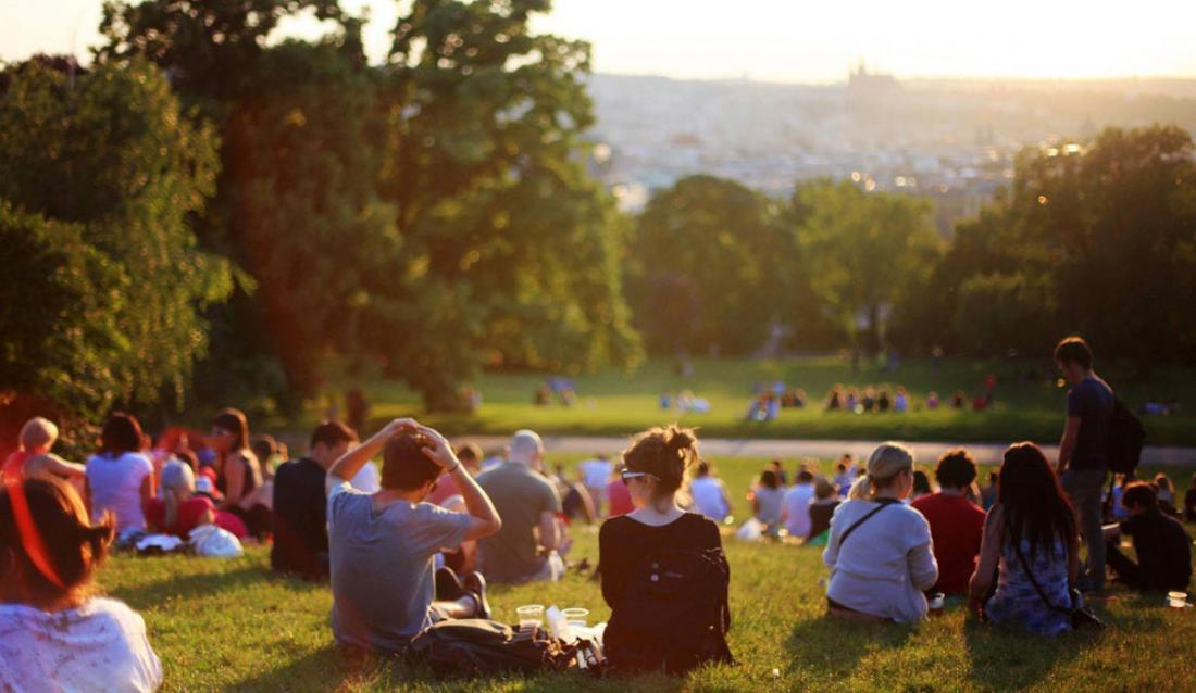 Park with people sitting on the grass