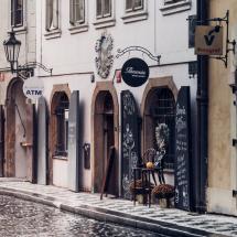 Prague street with shops