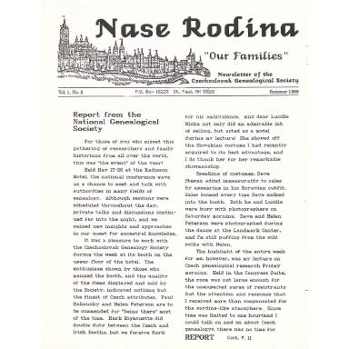 Cover of Summer 1989 Naše rodina