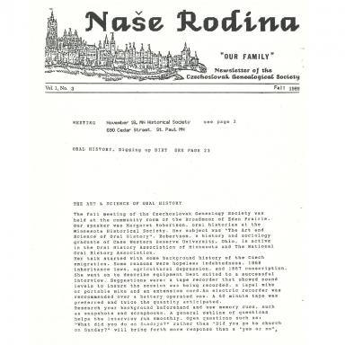 Cover of Fall 1989 Naše rodina