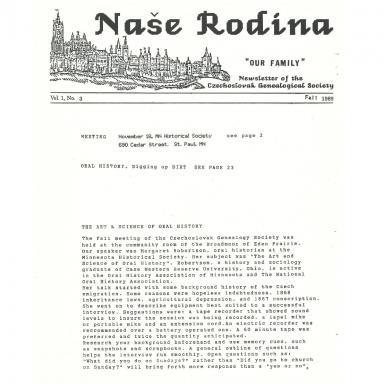 Cover of Fall 1989 Naše rodina