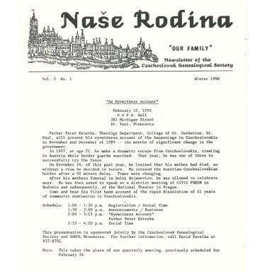 Cover of Winter 1990 Naše rodina