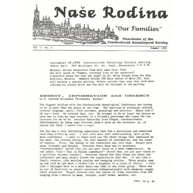 Cover of Summer 1990 Naše rodina