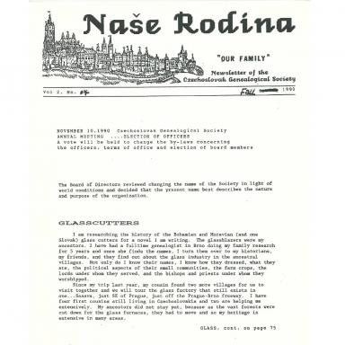 Cover of Fall 1990 Naše rodina