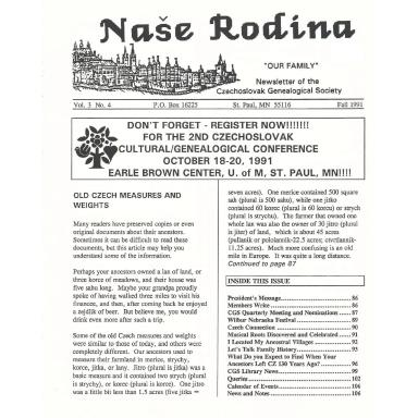 Cover of Fall 1991 Naše rodina