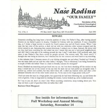 Cover of Fall 1992 Naše rodina