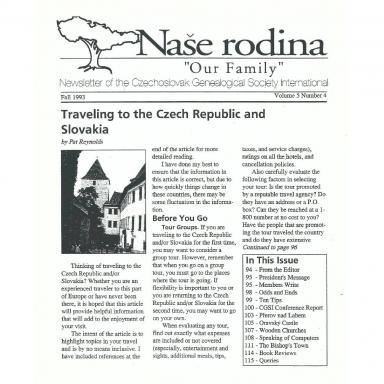 Cover of Fall 1993 Naše rodina