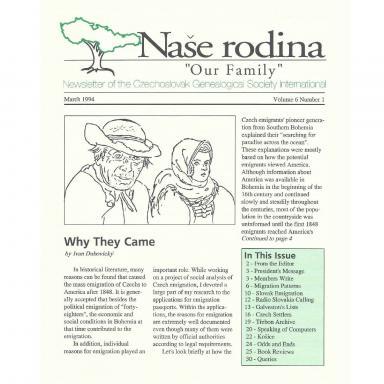 Cover of March 1994 Naše rodina