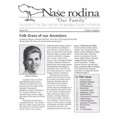 Cover of March 1995 Naše rodina