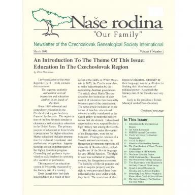 Cover of March 1996 Naše rodina