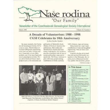Cover of March 1998 Naše rodina