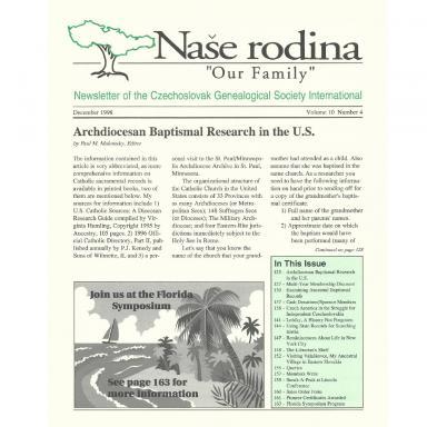 Cover of December 1998 Naše rodina