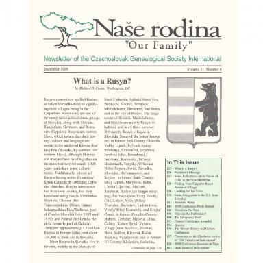 Cover of December 1999 Naše rodina