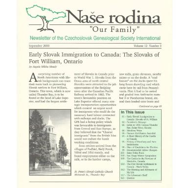 Cover of September 2000 Naše rodina