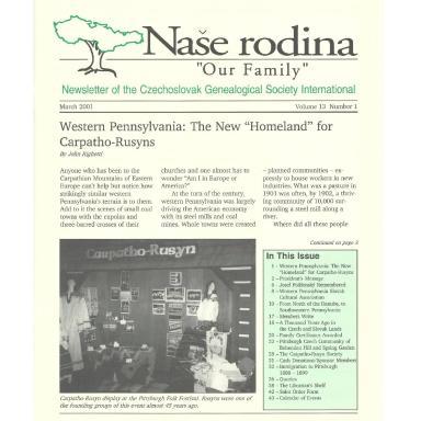 Cover of March 2001 Naše rodina