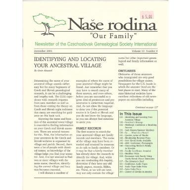 Cover of December 2001 Naše rodina