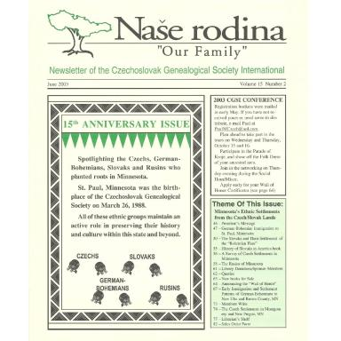Cover of June 2003 Naše rodina
