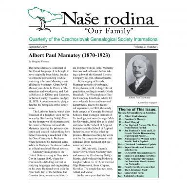 Cover of September 2009 Naše rodina