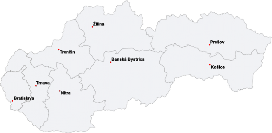 Map of Slovak Districts