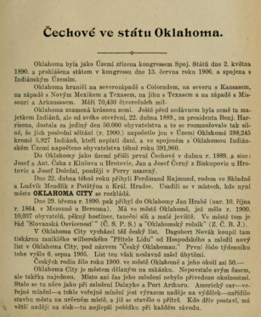 History of Czechs in America OK