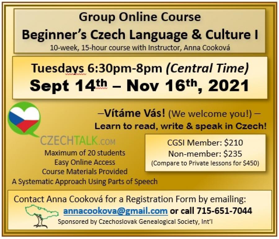 Beginners Czech I - Sept 2021
