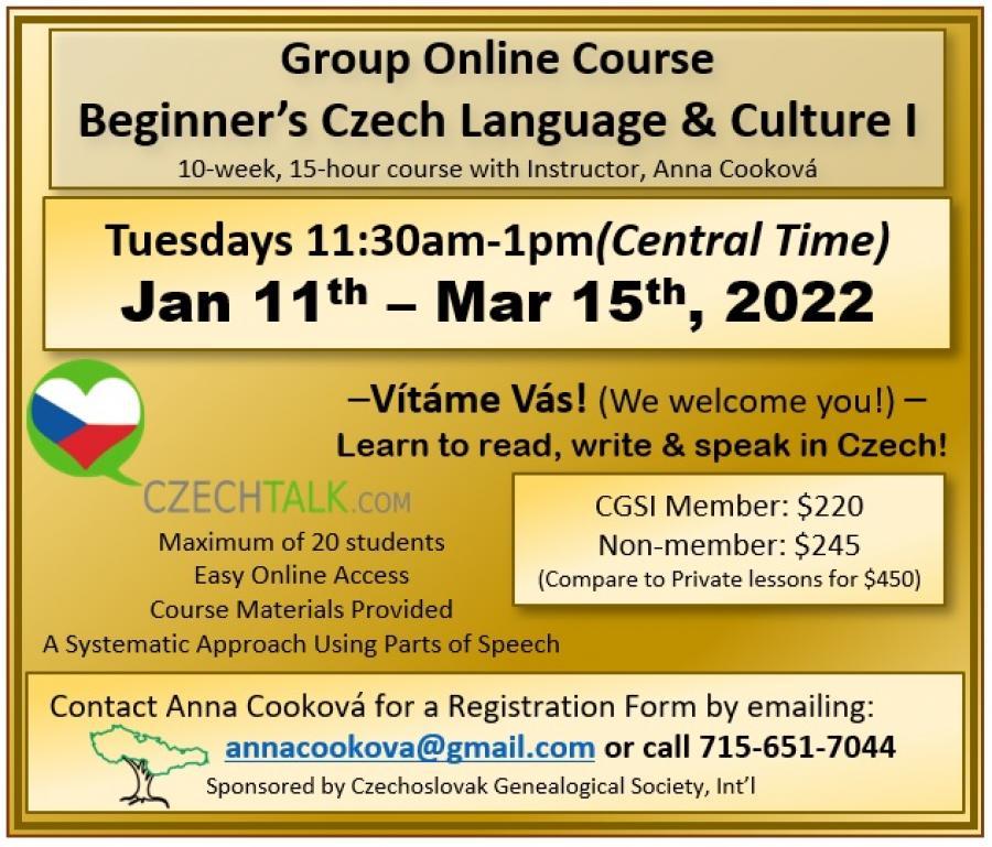 Beginners Czech I - Jan 2022